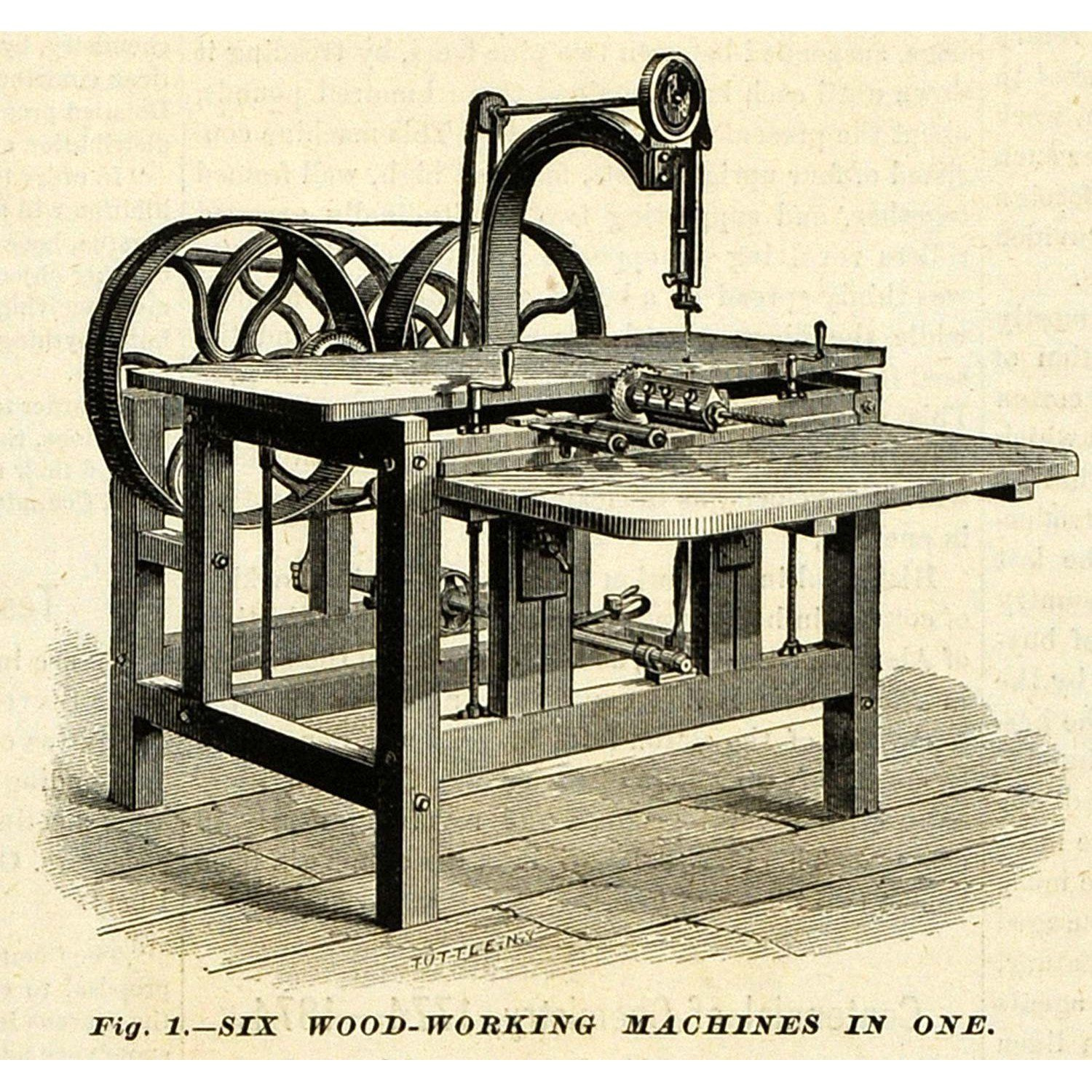 Antique Scroll Saw: Neat Halftone Print Of A 1874 Greenwich Woodworking