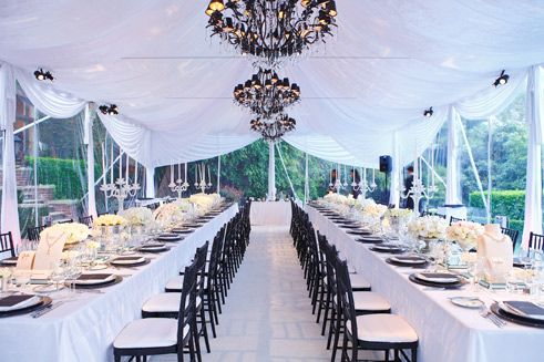 Bulgari S Tent Seated More Than 60 Guests At Two Long Banquet Tables Tent Banquet Tables Wedding Table Settings