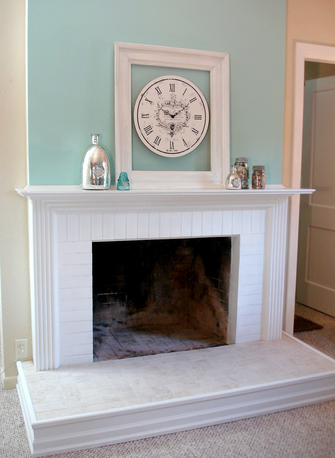 DIY Fireplace Mantel and Hearth Makeover Brick fireplace