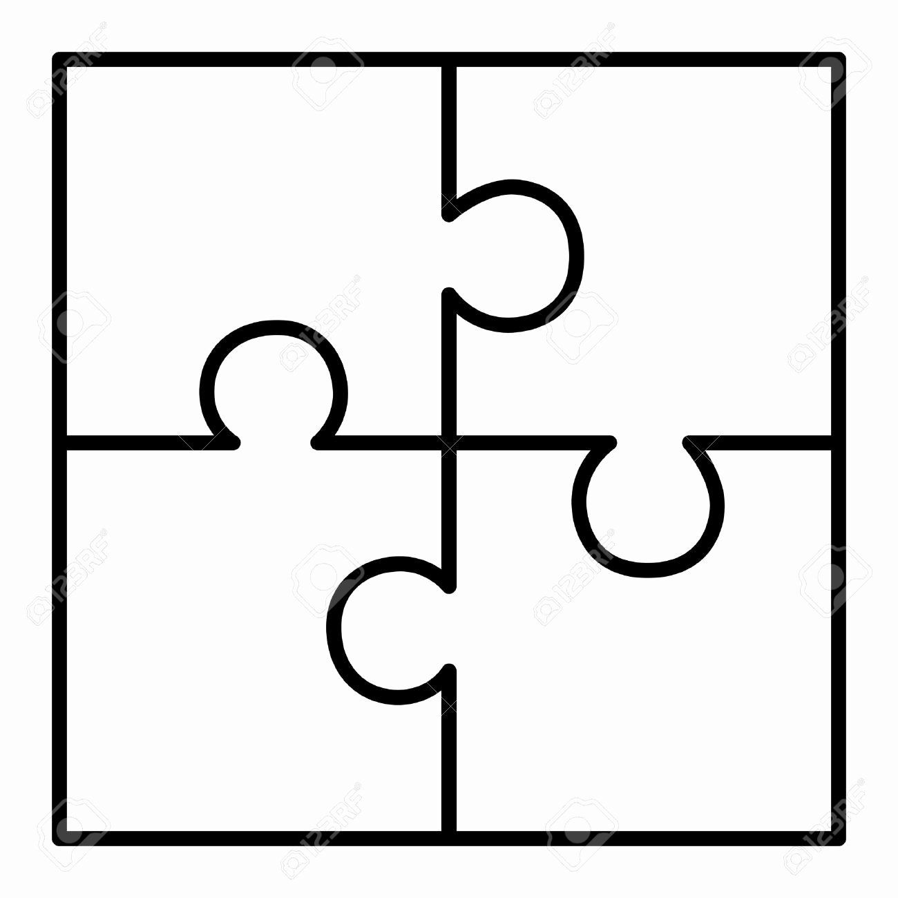 Puzzle Pieces Template for Word Unique 4 Piece Puzzle