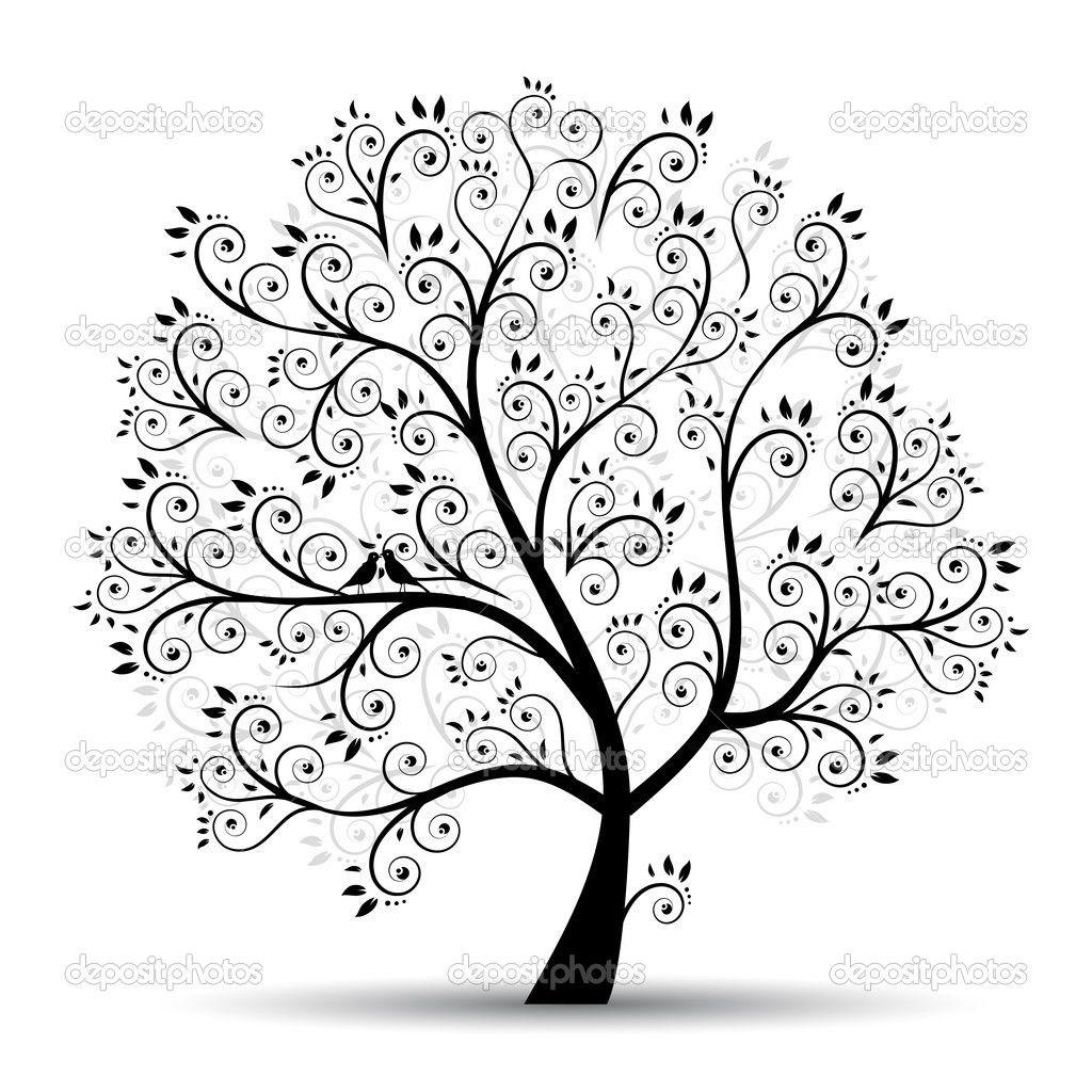 Kunst Baum schn schwarz Silhouette  Zeichnen  Pinterest