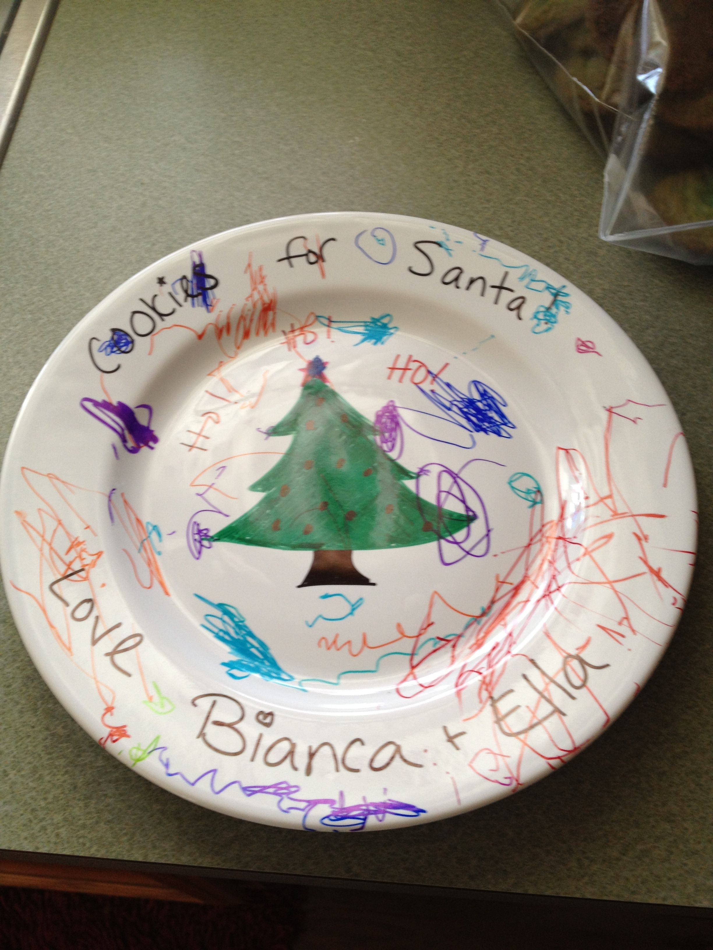 White ceramic plates for crafts - Cookies For Santa Plate Get A White Ceramic Plate Sharpie Markers Color And