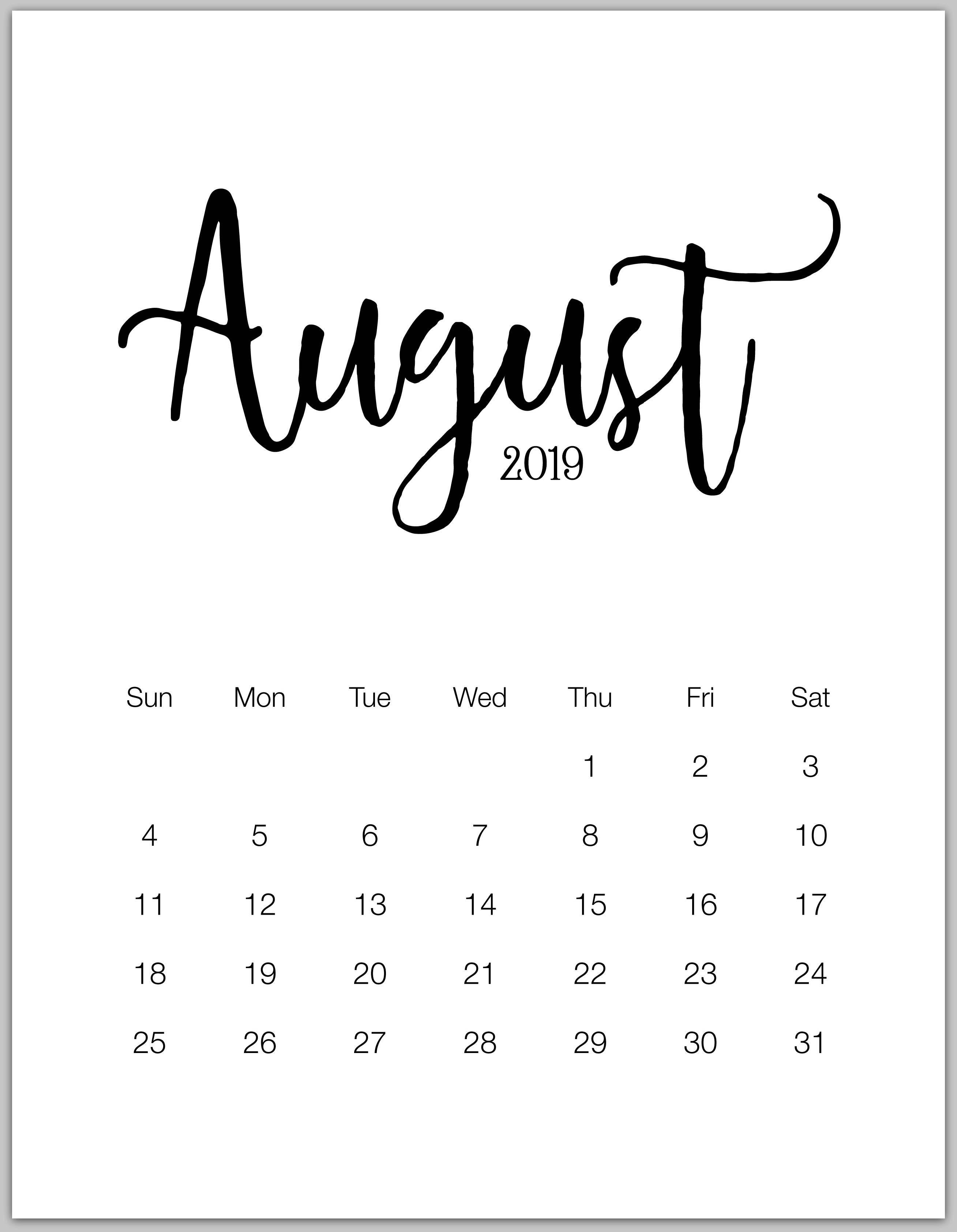 August 2019 Minimalist Calendar 2019 Calendars Pinterest