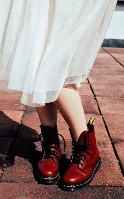 7525474b86d7 Calf length white lace dress and dark red doc martens. Goth/ punk/ rock n  roll/ alternative wedding.