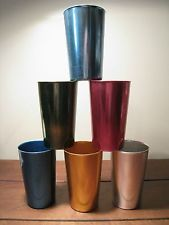 Bascal Drinking Cups Tumblers Lot Aluminum Vintage Retro Colored Colors