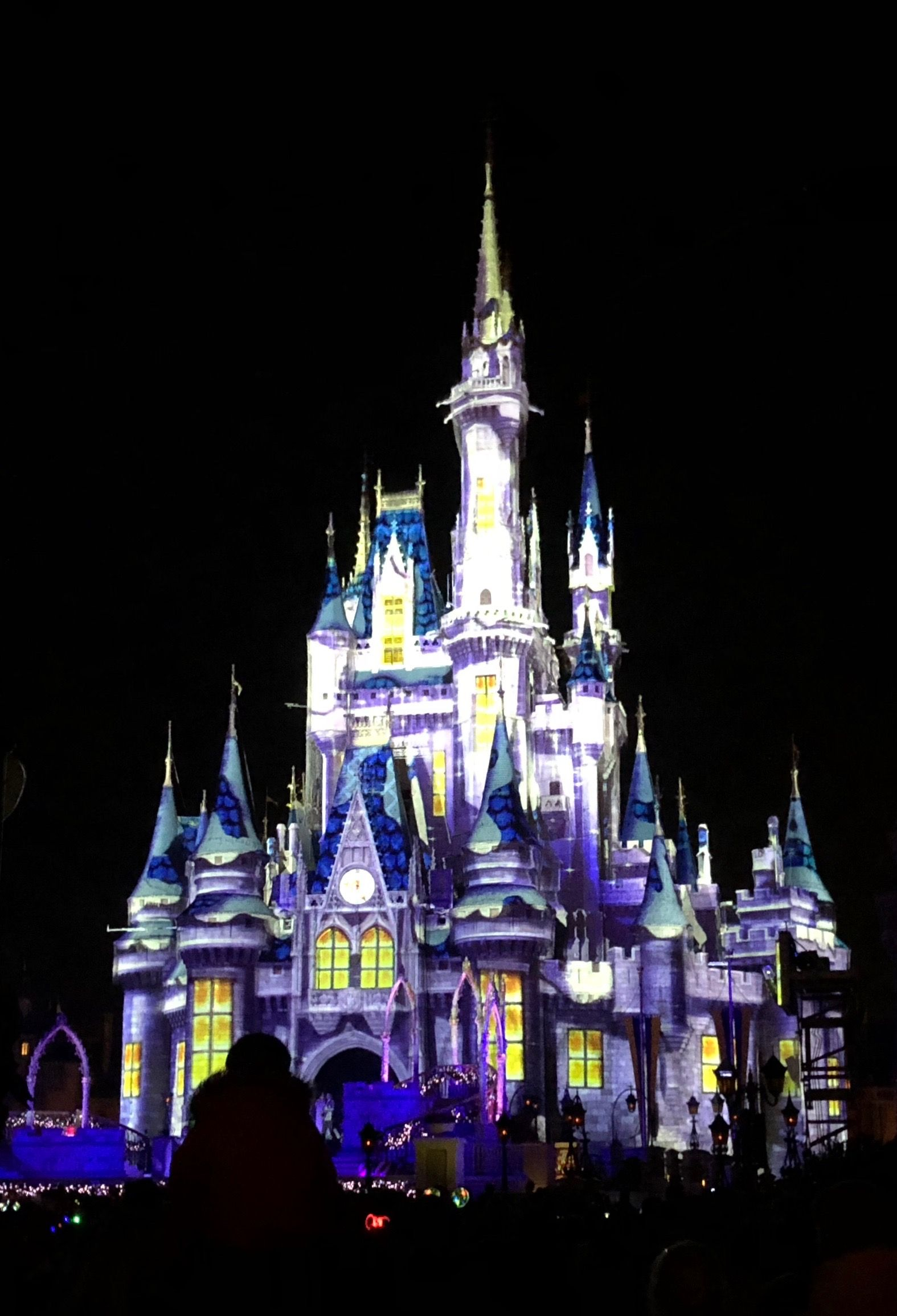 Crazy lighting on cinderellas castle covered in the magic kingdom crazy lighting on cinderellas castle covered in the magic kingdom during the very merry christmas party in december of 2017 voltagebd Images