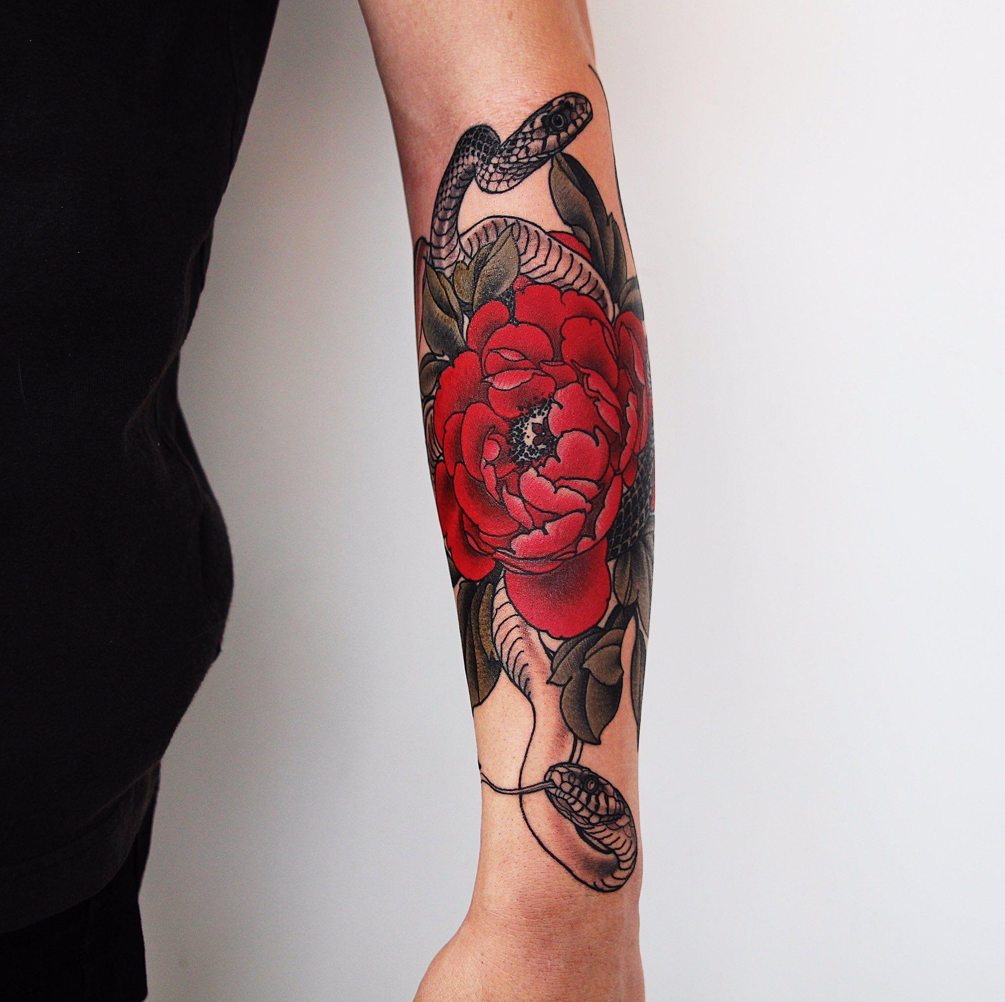 by yuuz_tattooer Red flower tattoos, Tattoos, Forearm
