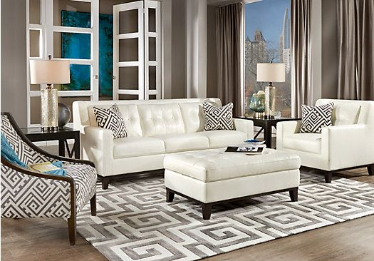 Reina White 4 Pc Leather Living Room