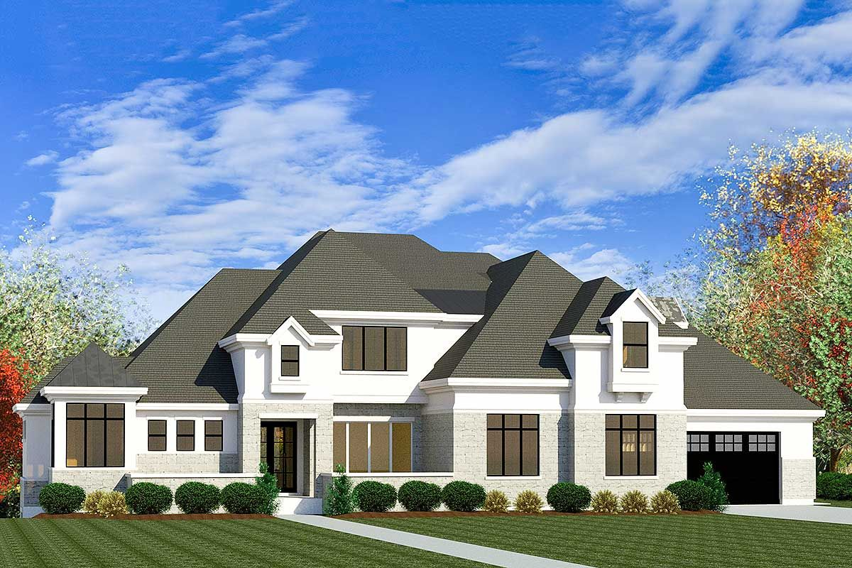 Plan 290093iy Stately 4 Bedroom European House Plan With 3 Car Garage In 2021 Garage House Plans European House Mediterranean House Plans