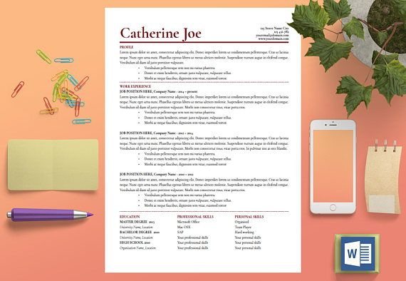 Resume Template Instant Download Professional Resume Modern - resume template for mac
