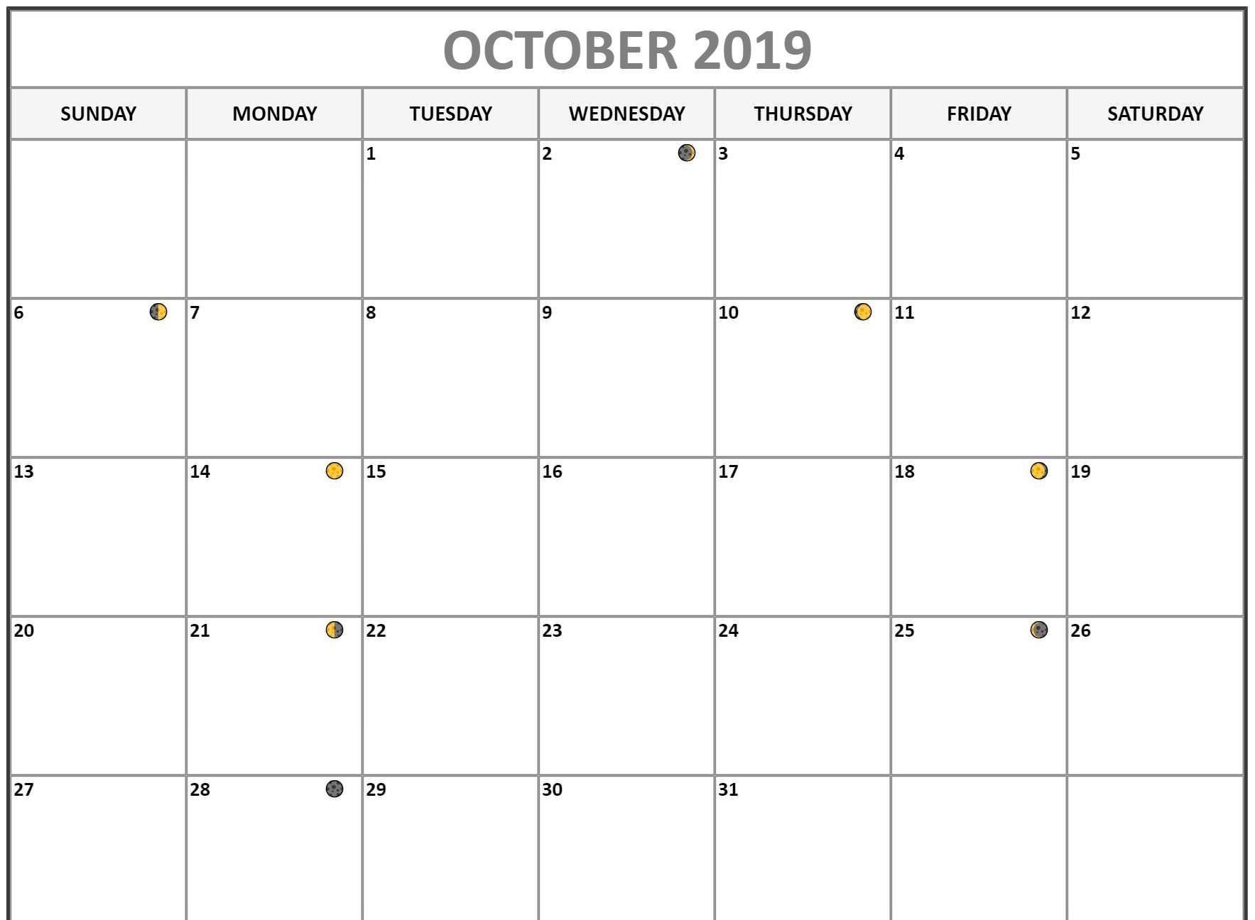 October 2019 Calendar Moon Phases Moon Calendar Lunar Calendar