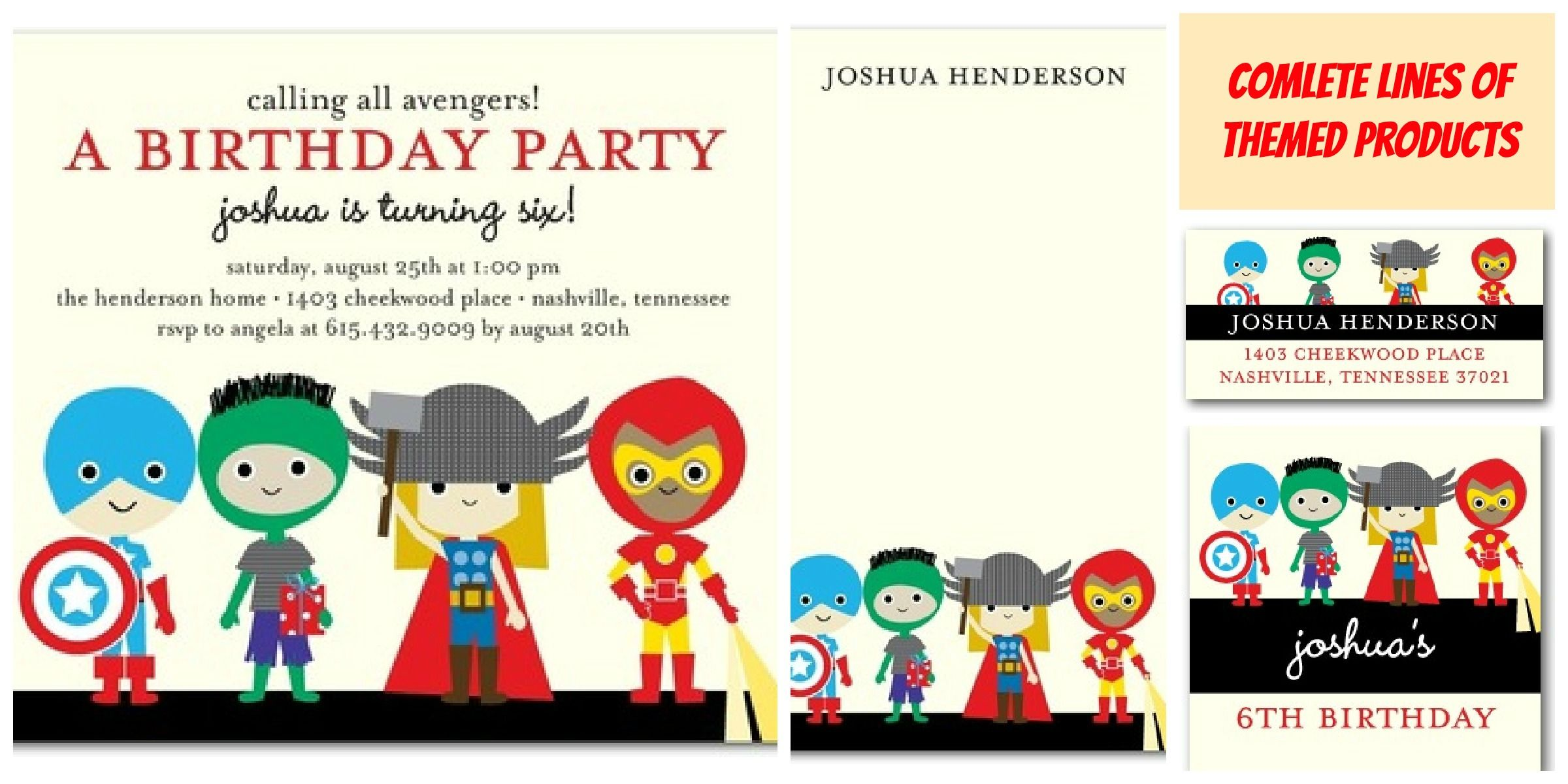 Traditional Superhero Birthday Party Invitations Templates