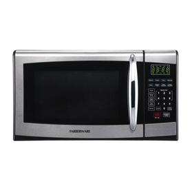 Farberware 0 9 Cu Ft 900 Watt Countertop Microwave Stainless Steel Black Fmo09ahtbkr Chrome Handles Microwave Countertops