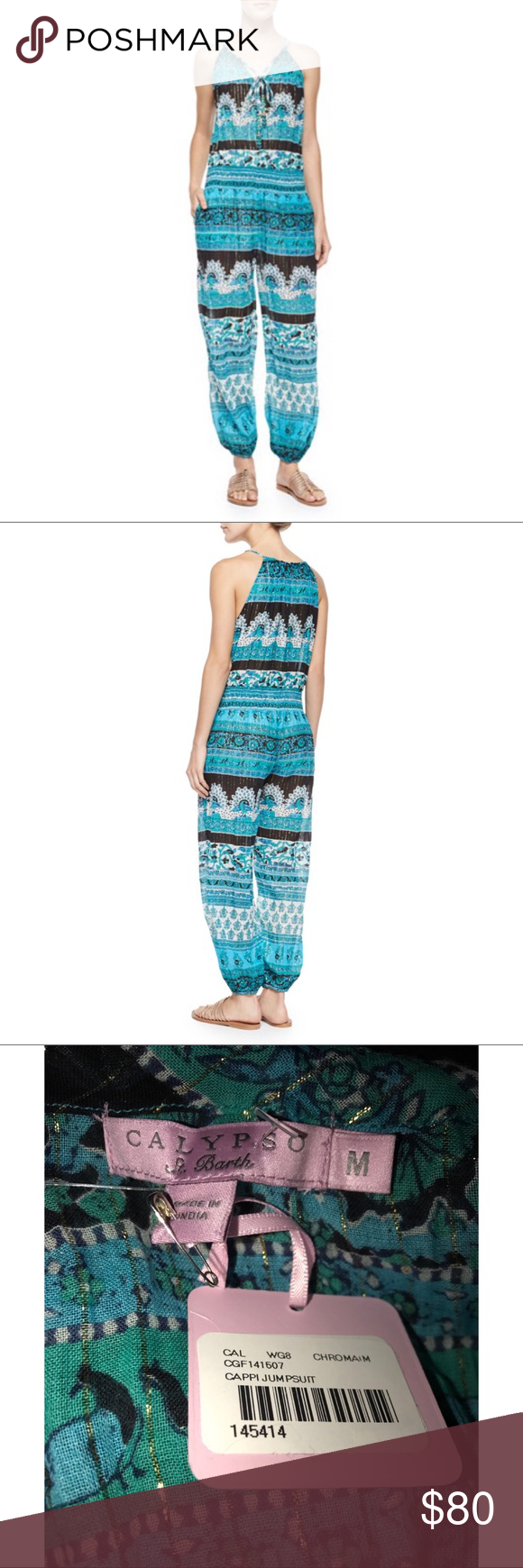 """Calypso St Barth $80 OBO NWT Multi Cappi Jumpsuit •Calypso St. Barth """"Cappi"""" jumpsuit in multipattern. •V neckline with tie detail. •Spaghetti straps. •Banded waist. •Slit pockets at hips. •Harem pants. •Hem hits ankle. •Cotton. •Imported. Calypso St. Barth Pants Jumpsuits & Rompers"""
