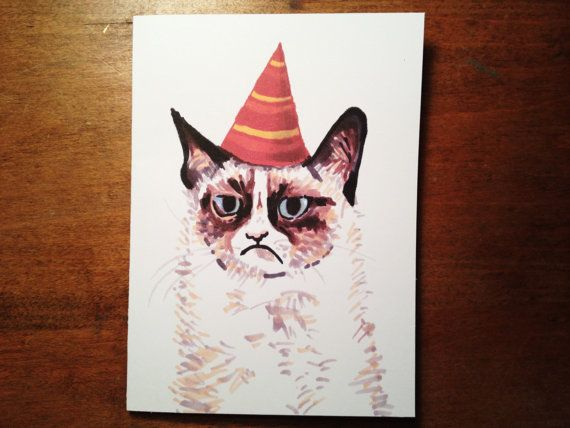 Grumpy cat with party hat hand drawn funny cat card funny grumpy cat with party hat hand drawn funny cat card funny birthday card bookmarktalkfo Choice Image