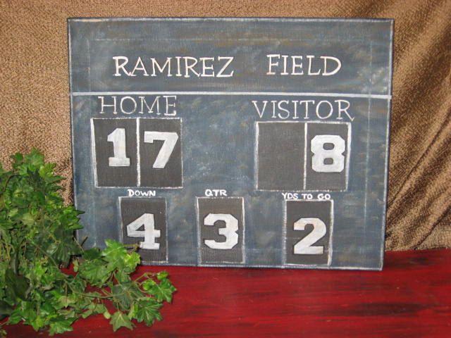 Football scoreboard canvas. $55.00, via Etsy.