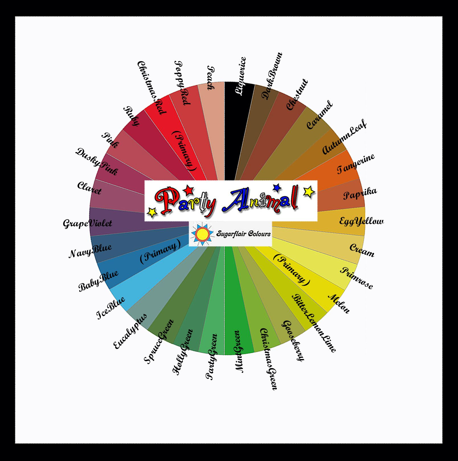 Cake Decorating Career sugarflair colour wheel. www.partyanimalonlineshop | colour