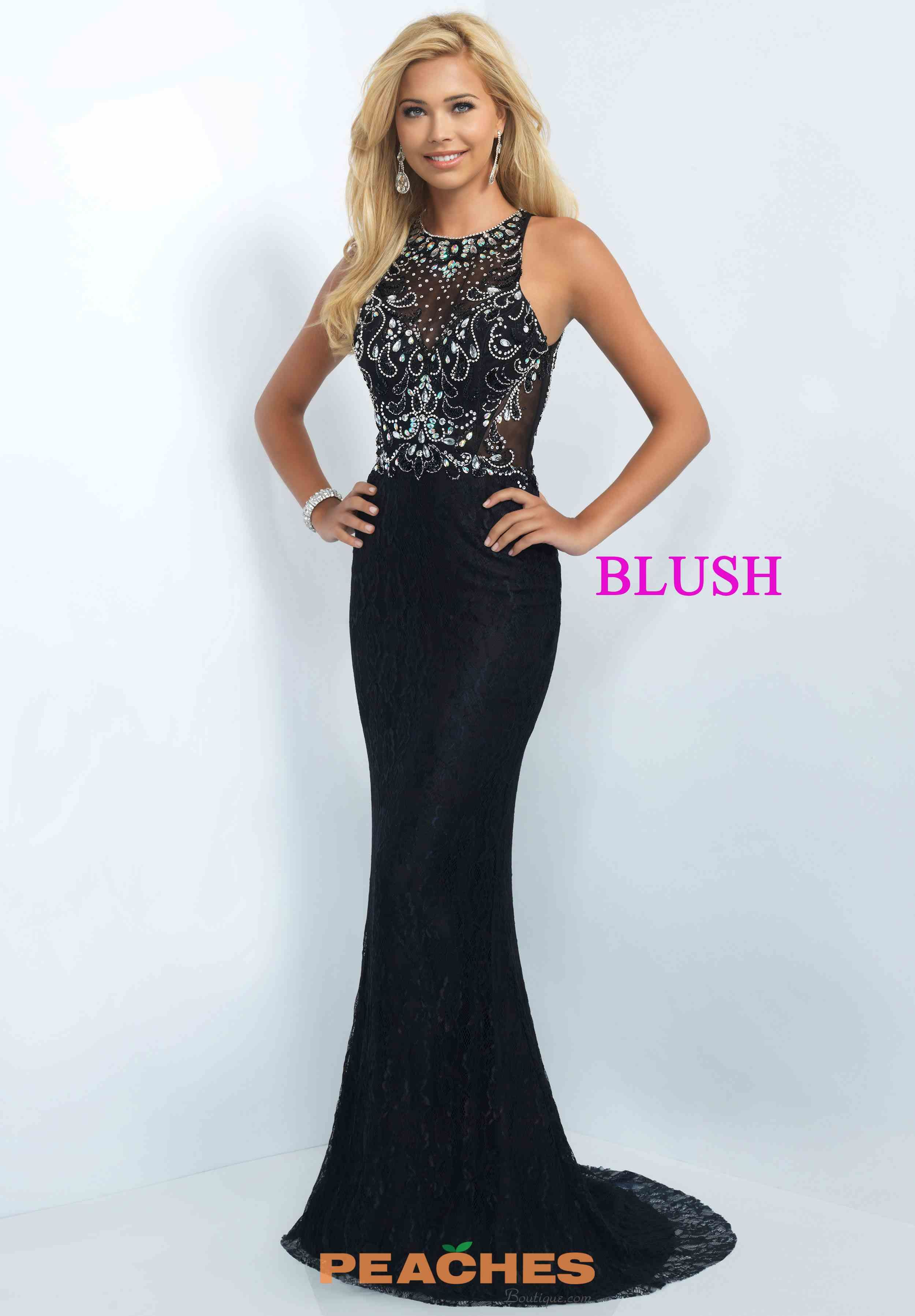 Blush Fit and Flare Beaded Evening Gown 11111   prom   Pinterest ...