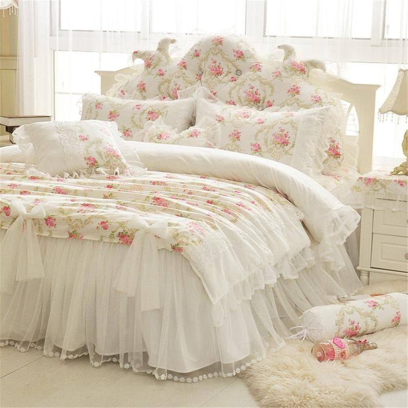 White Floral Duvet Cover Set Cotton Bedding Set Lace Bow Duvet Cover Set Flowers Duvet Cover Daisy Bed Skirt Pillowcase Twin Full Queen King Princess Bedding Set Shabby Chic Room Chic Bedding