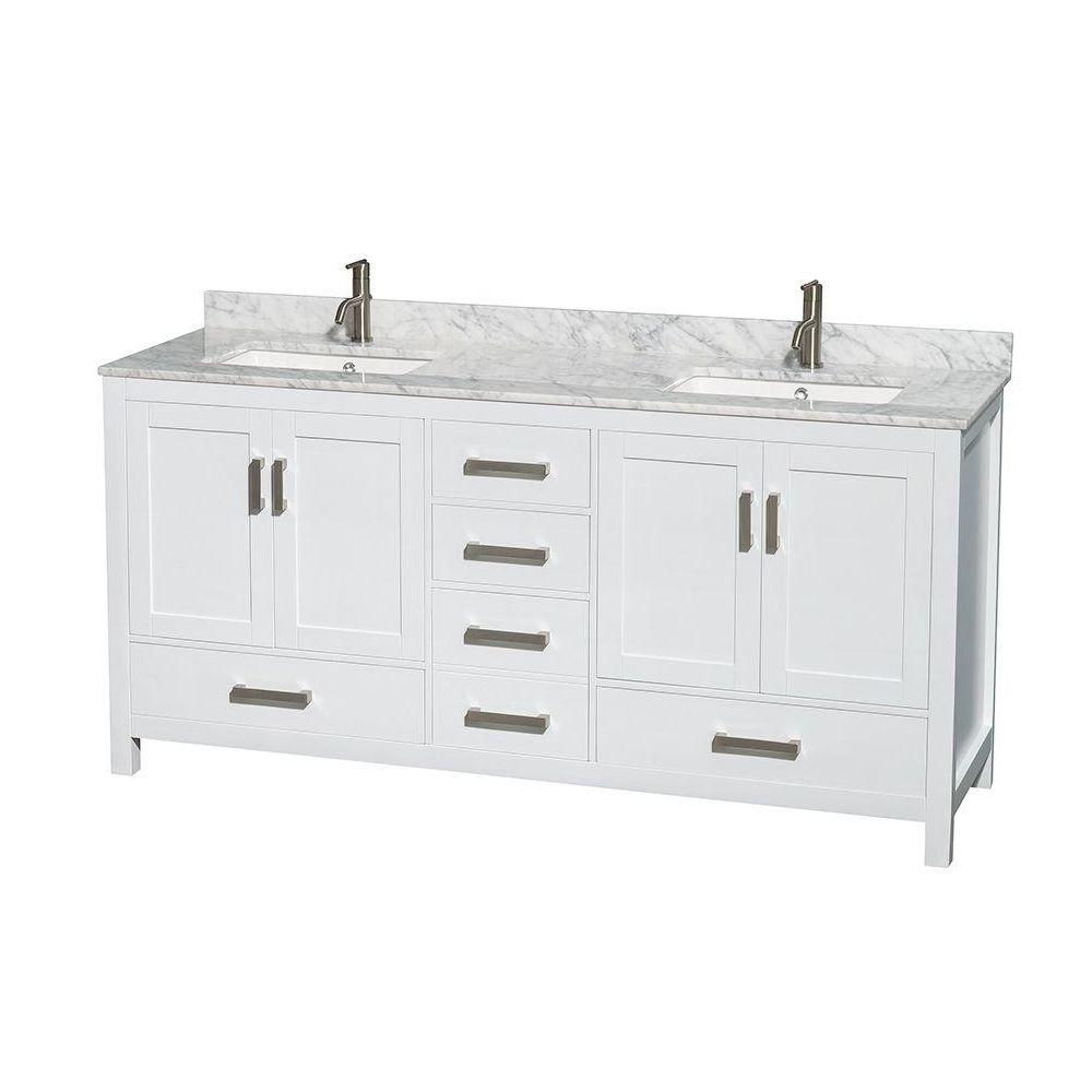 Wyndham Collection Sheffield 72 In Double Vanity In White With Marble Vanity Top In Carrara White Wcs141472dwhcmunsmxx The Home Depot Marble Vanity Tops Double Sink Bathroom Vanity White Double Sink Bathroom Vanity [ 1000 x 1000 Pixel ]