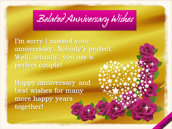 Belated Anniversary Wishes Free Online The Perfect Couple Ecards On