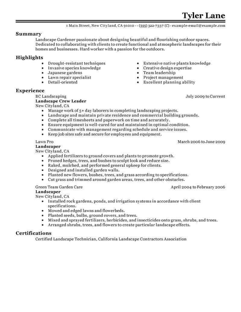 Best landscaping resume example livecareer workresume