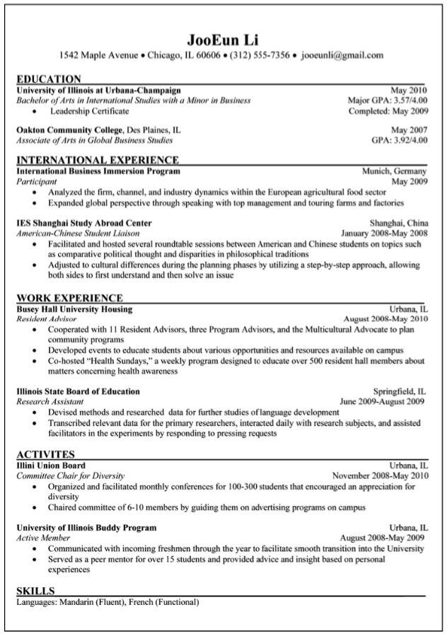 American Chinese Student Sample Resume    Http://exampleresumecv.org/american