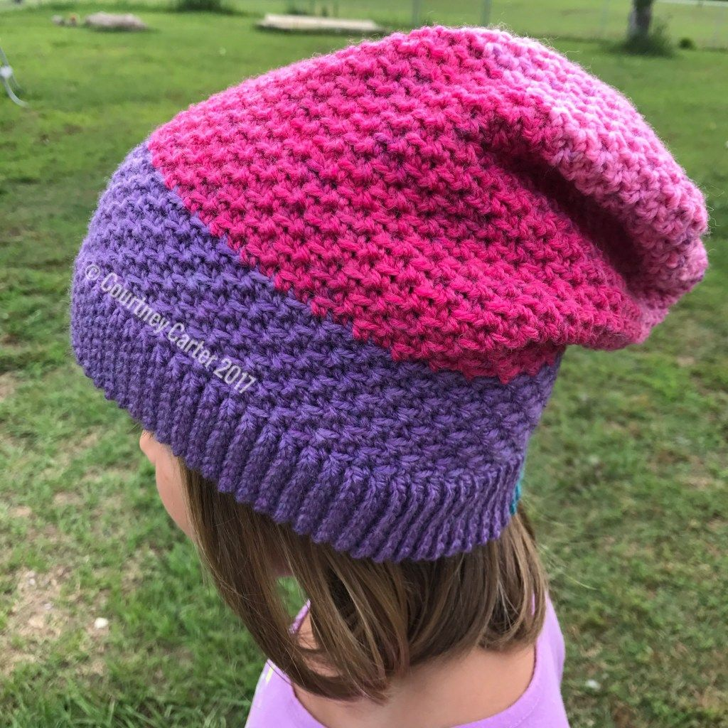 Seed Stitch, Knit-Look Slouch Hat – Crocheting Crazy | Crochet Hats ...