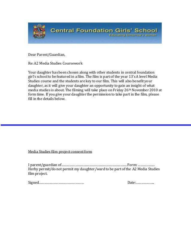 dear parent guardian media studies courseworkyour daughter has - permission letter