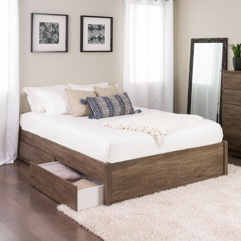 Prepac Select Drifted Gray Queen 4 Post Platform Bed With 4