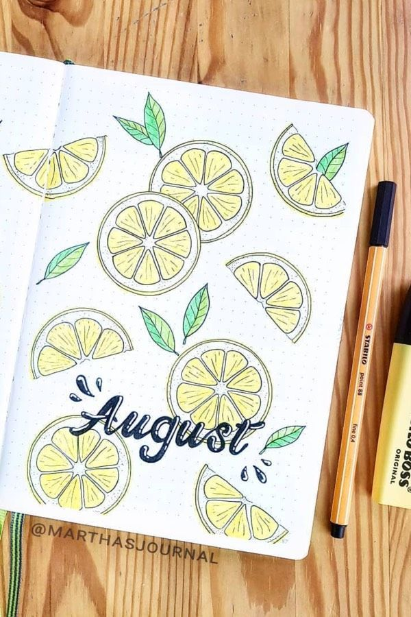 Check out these super cute AUGUST bullet journal monthly cover ideas!