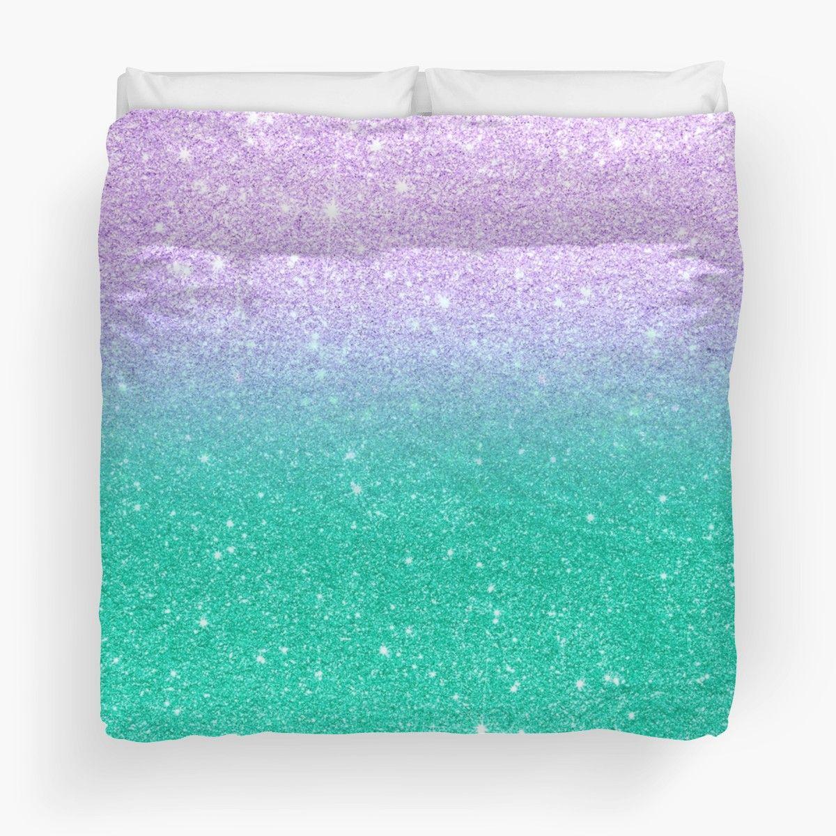 Mermaid purple teal aqua glitter ombre gradient | Duvet Cover #mermaidbedroom