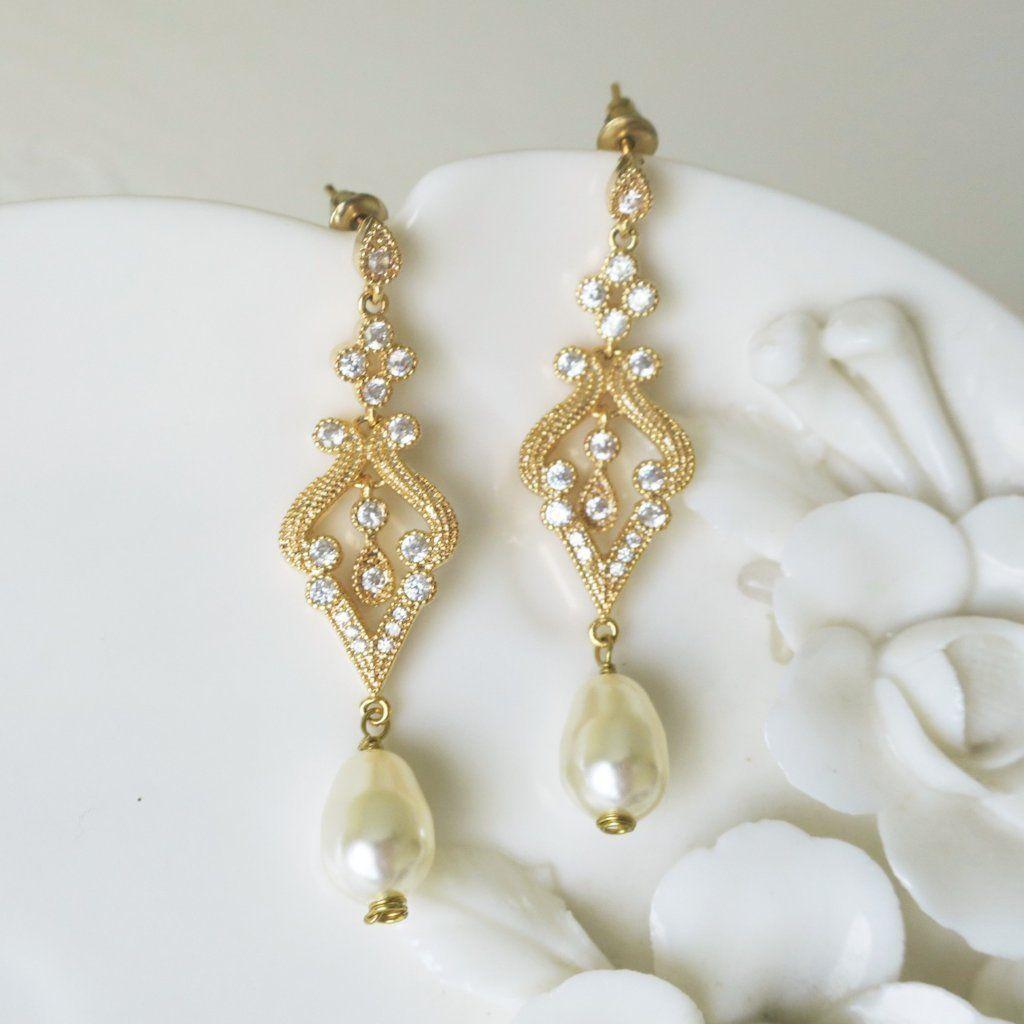 Crystal chandelier earrings art deco bridal earrings pearl drop 1920s gold bridal earrings marcasite crystal petite chandelier wedding earrings arubaitofo Images