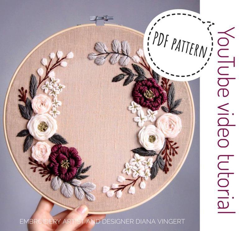 Pdf pattern+ video tutorial. Spring honey floral wreath/ digital tutorial floral diy hand embroidery Digital Download – Handstickstiche