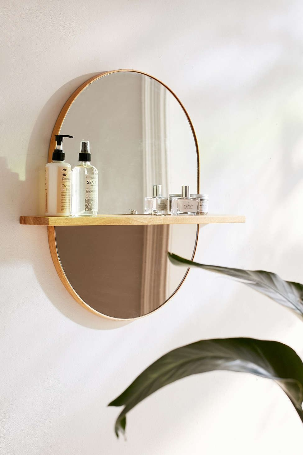 Ivette Rounded Mirror Shelf Mirror With Shelf Shower Curtain