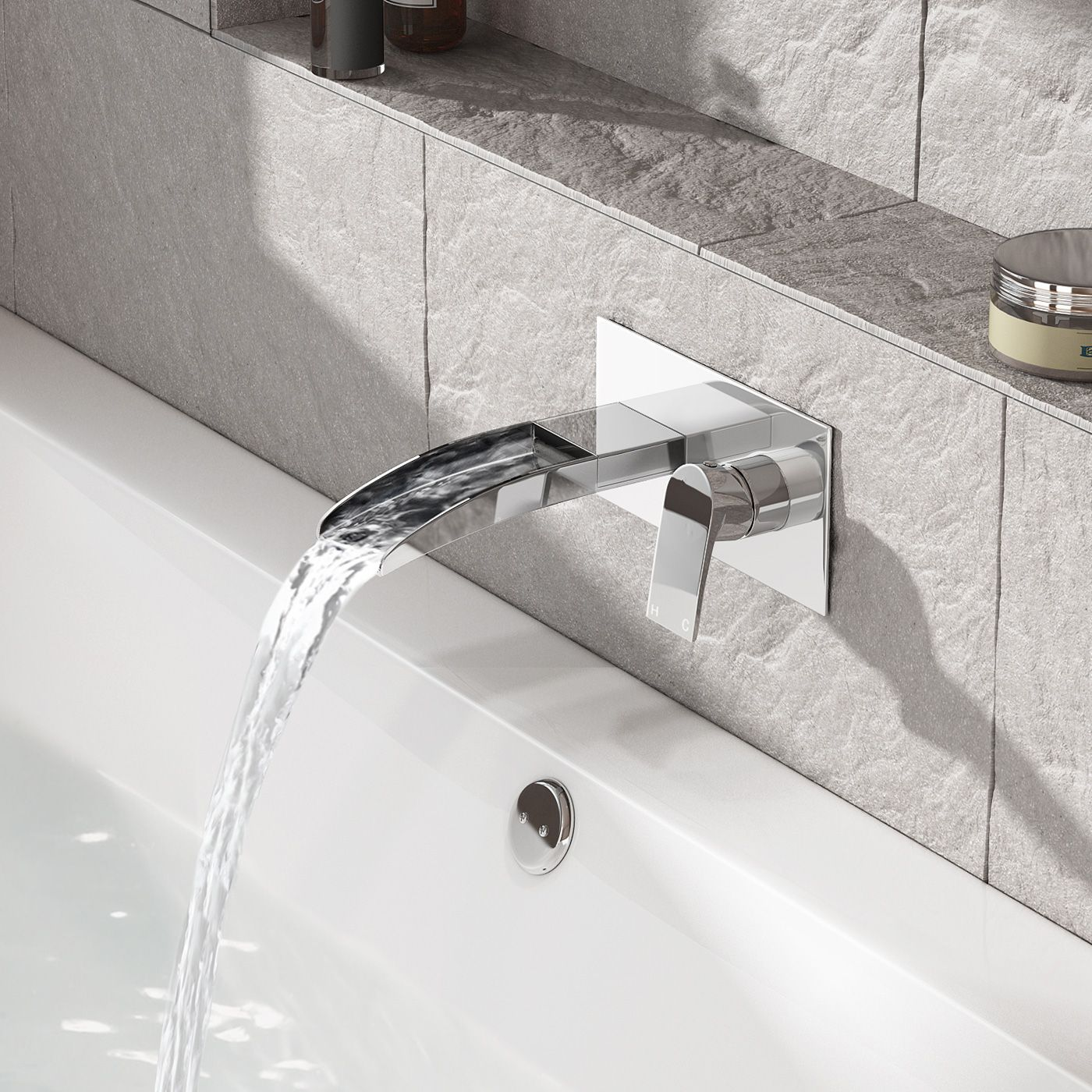 Avis Ii Wall Mounted Waterfall Bath Filler Mixer Tap Bath Mixer Taps Waterfall Taps Bath Taps
