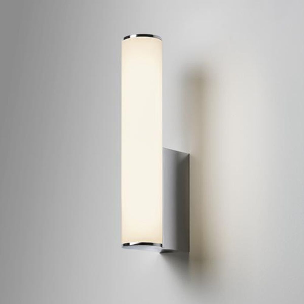 The Domino Bathroom Wall Light has a Polished Chrome Finish and Frosted  Glass Shade  Suitable. Astro Domino LED IP44 Bathroom Wall Light in Polished Chrome