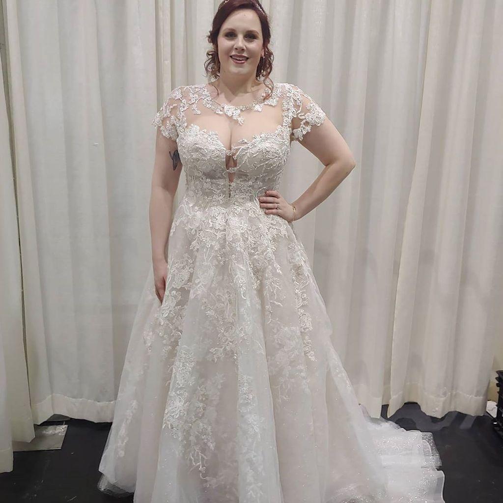 Cap sleeve lace illusion plus size wedding dress davids