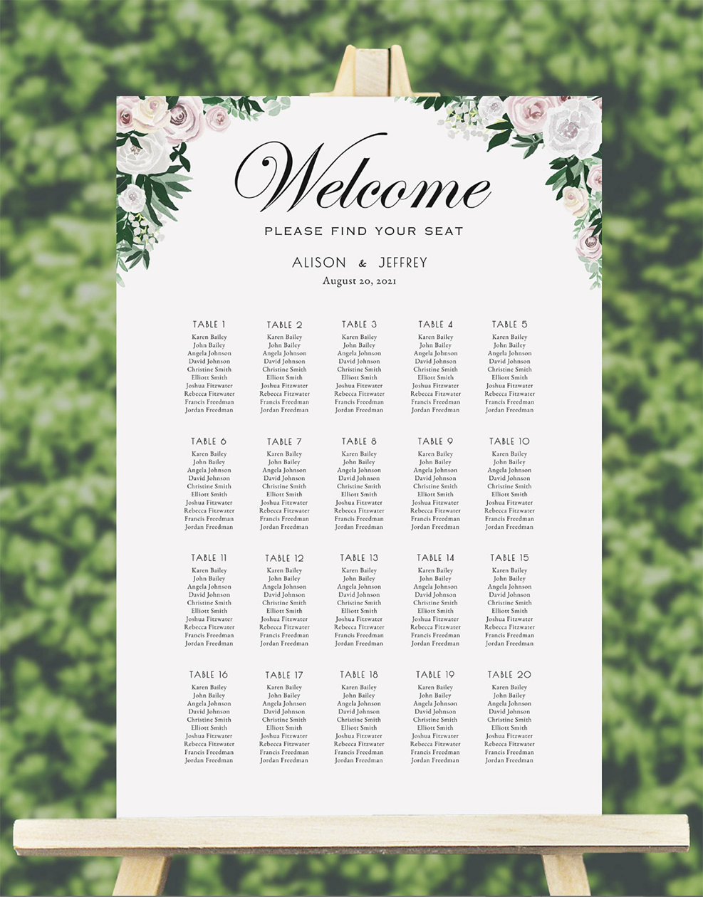 watercolor floral wedding seating chart template wedding seating
