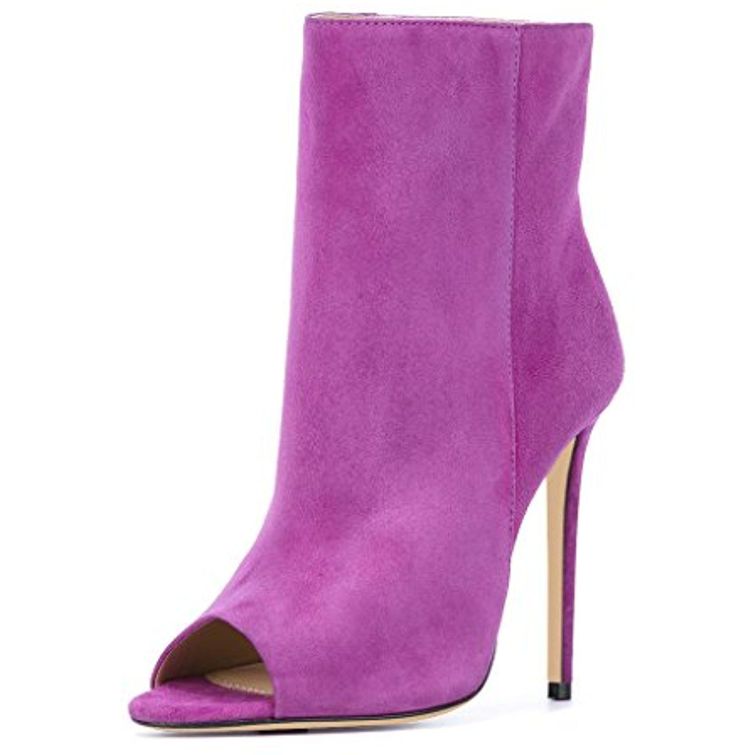 Elegant High Heel Stiletto Ankle Boots Faux Suede Peep Toe Pumps Booties For Women