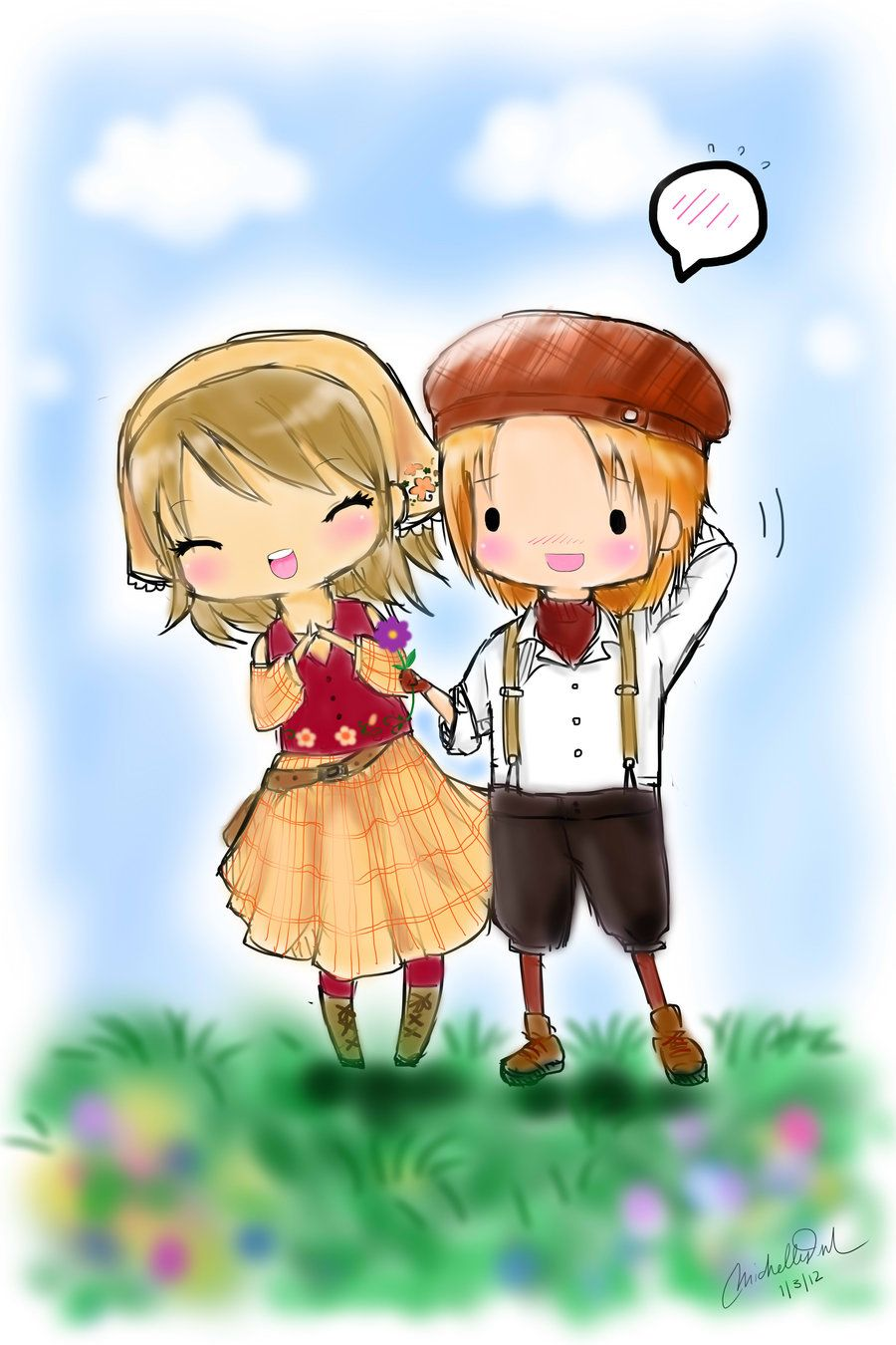 chibi Lillian and Ash from HMTOTT Harvest moon game