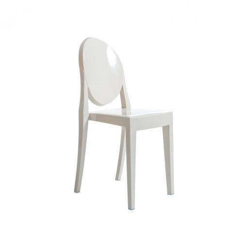 Ghost Style Ivory White Plastic Chair No Arms At MDM Furniture