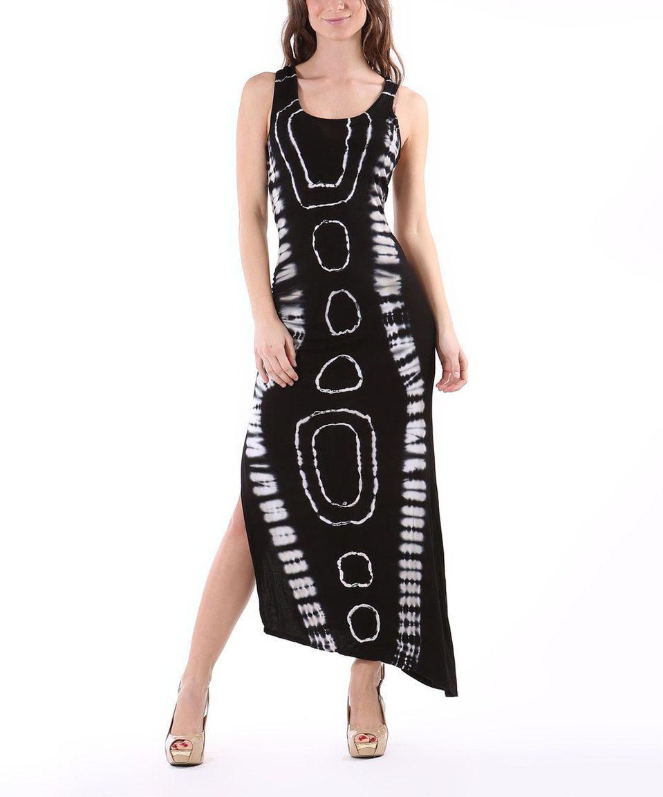 Urban x black u white tiedye asymmetrical maxi dress by urban x
