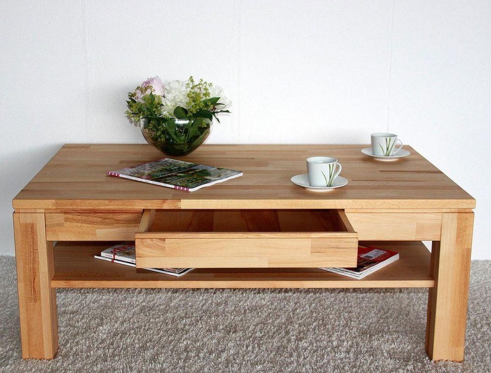 Massivholz couchtisch 115x70 wohnzimmertisch 1 schubkasten for Wohnzimmertisch ebay
