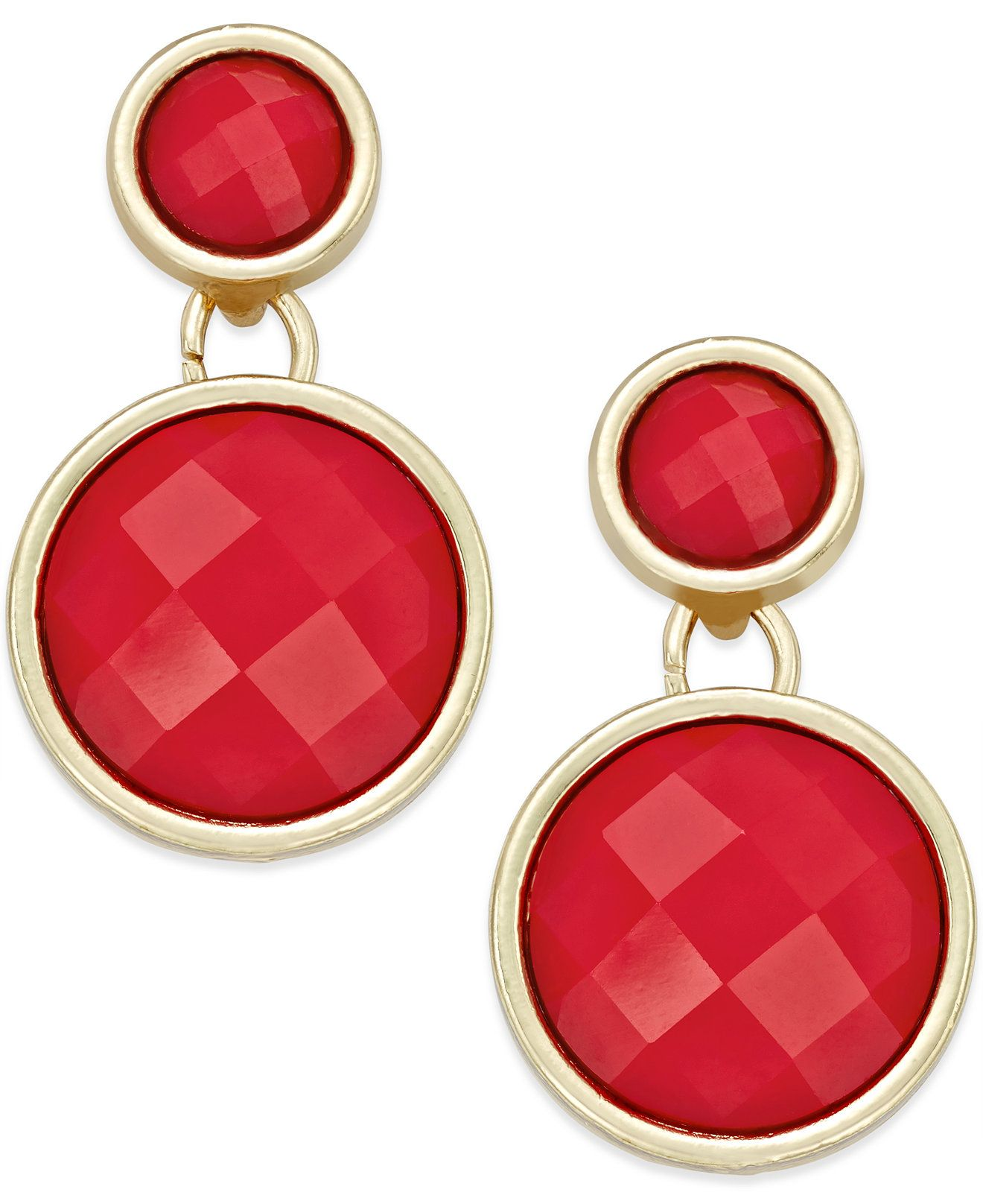 INC International Concepts GoldTone Large Red Circle Drop Earrings