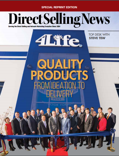 "Direct Selling News is currently featuring an article by President and CEO Steve Tew in their January issue. The article entitled, ""Quality Products from Ideation to Delivery,"" focuses on the responsibility companies have to manufacture products of superior quality."