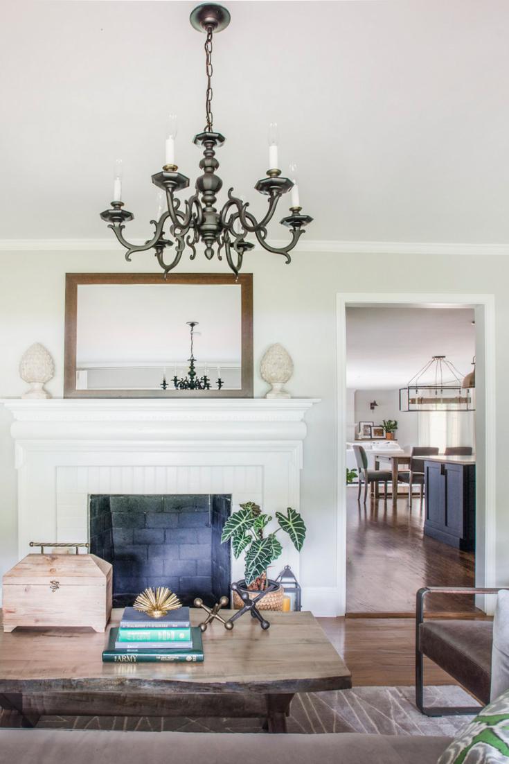 White mantel decorating ideas #livingroom #manteldecor #chandelier ...