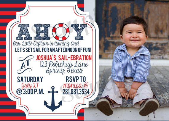 Nautical Birthday Invitation Anchor Sailor Navy and Red Ahoy