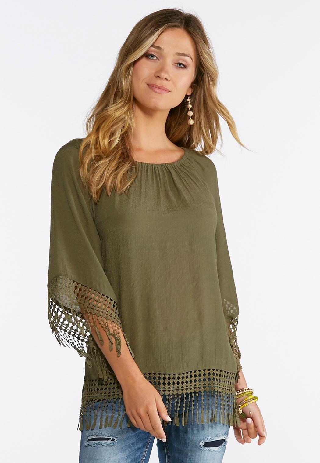 0289edd38ca Crochet Fringe Trim Top Tops Cato Fashions