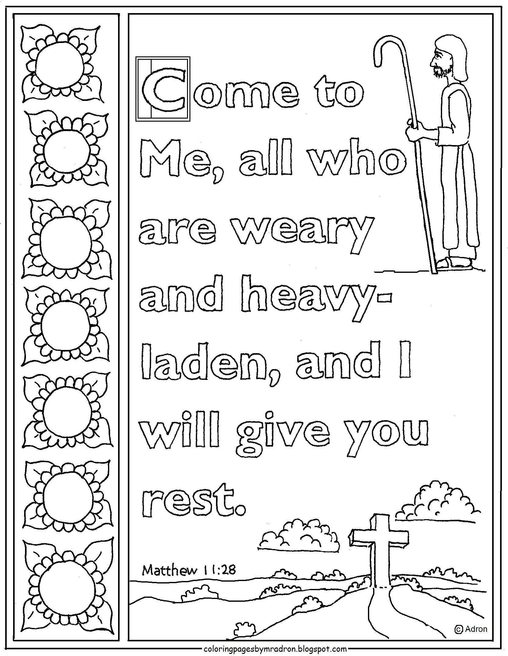 Matthew 11 28 Print And Color Page Come To Me All Who Are Weary